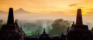 Looking at the Breathtaking Sunrise from Borobudur Temple, Central Java