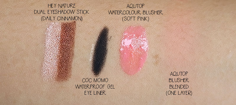 Aqutop Watercolour Blusher Soft Pink and Hey Nature Dual Shadow Stick Daily Cinnamon swatches