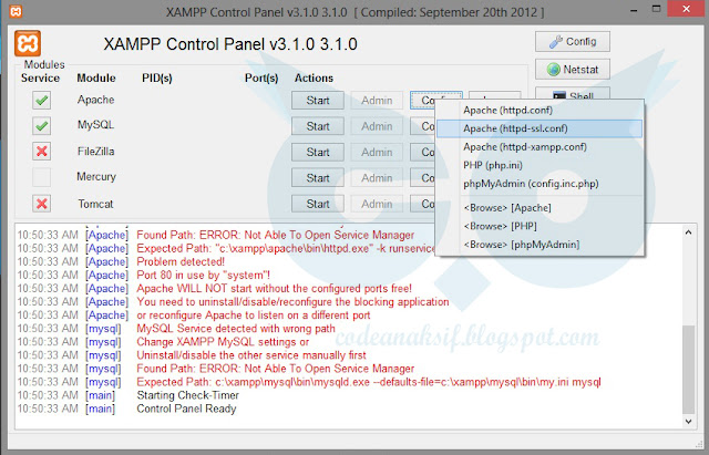 cara setting port xampp error