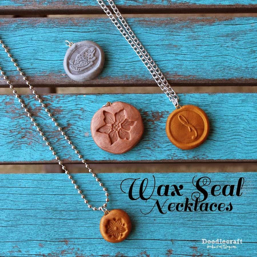 Doodlecraft Wax Seal Necklaces
