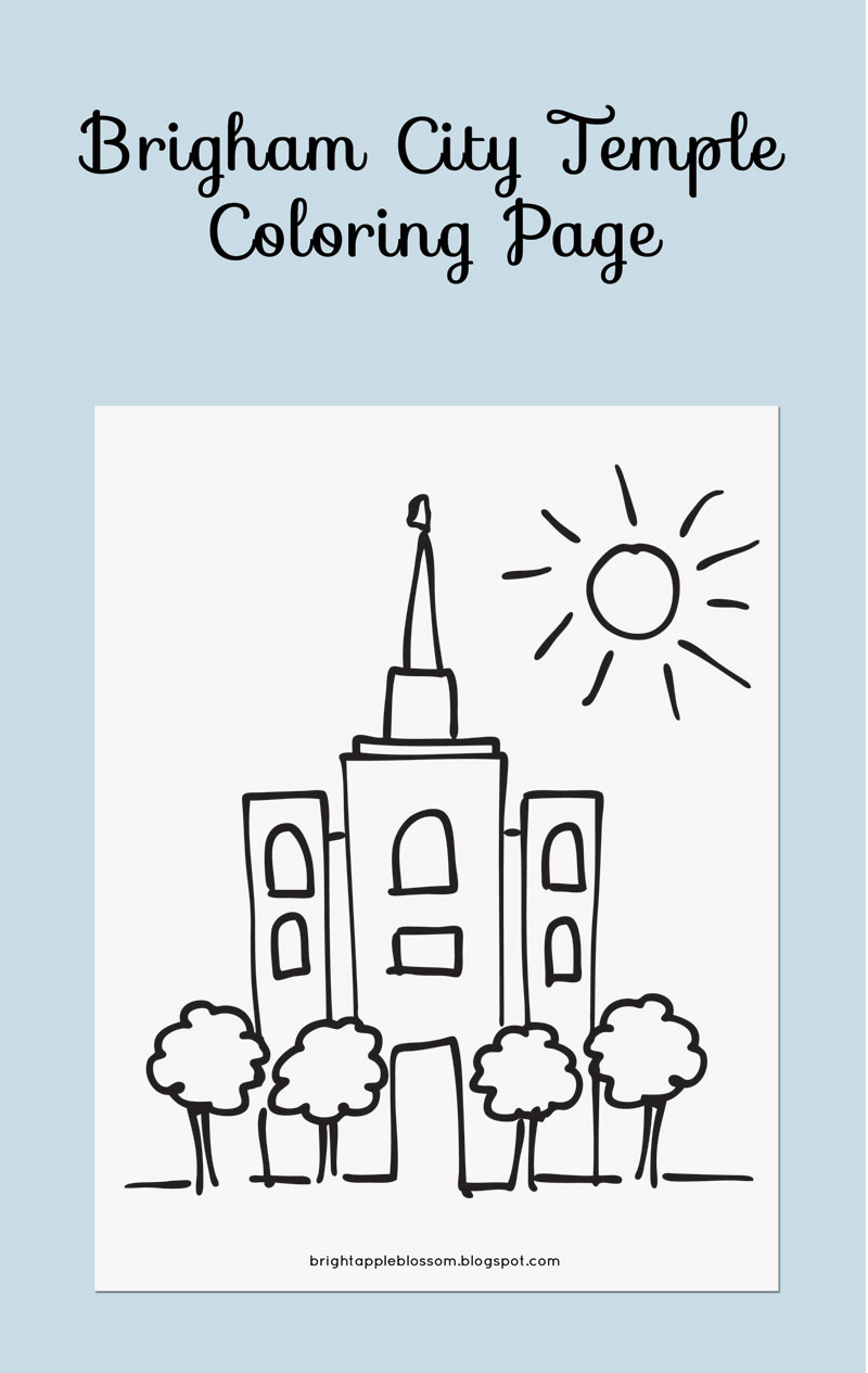 Brigham City Temple Coloring Page - bright apple blossom