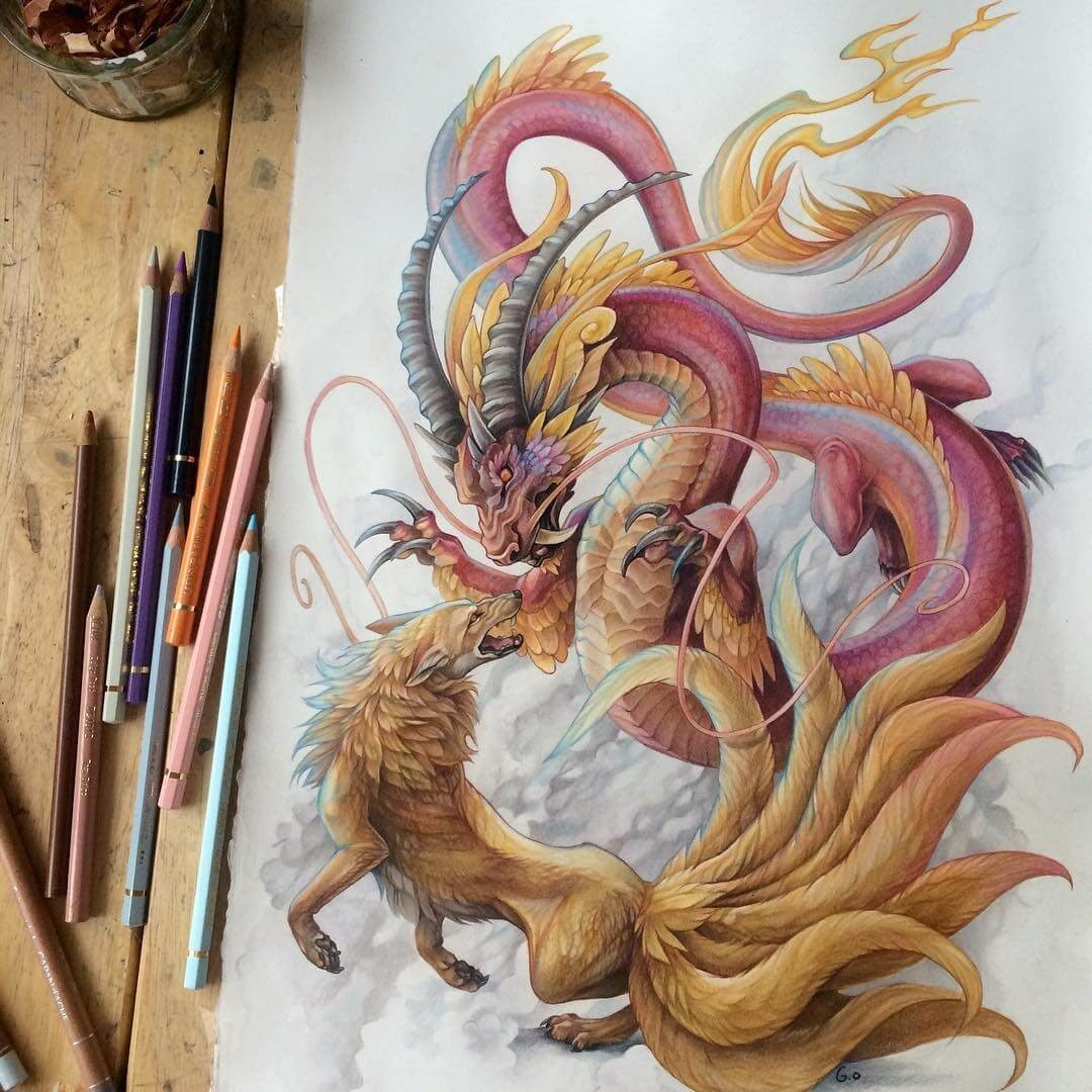 03-Dragon-Serpent-and-nine-tailed-Fox-Grace-Fantasy-Animals-Colored-Pencils-Drawings-www-designstack-co