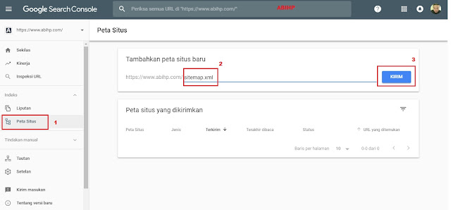 Ketikkan sitemap baru untuk properti domain baru tadi.