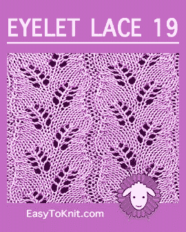 #Knit Diagonal Fern stitch, Easy Eyelet Lace Pattern #easytoknit #knitlace
