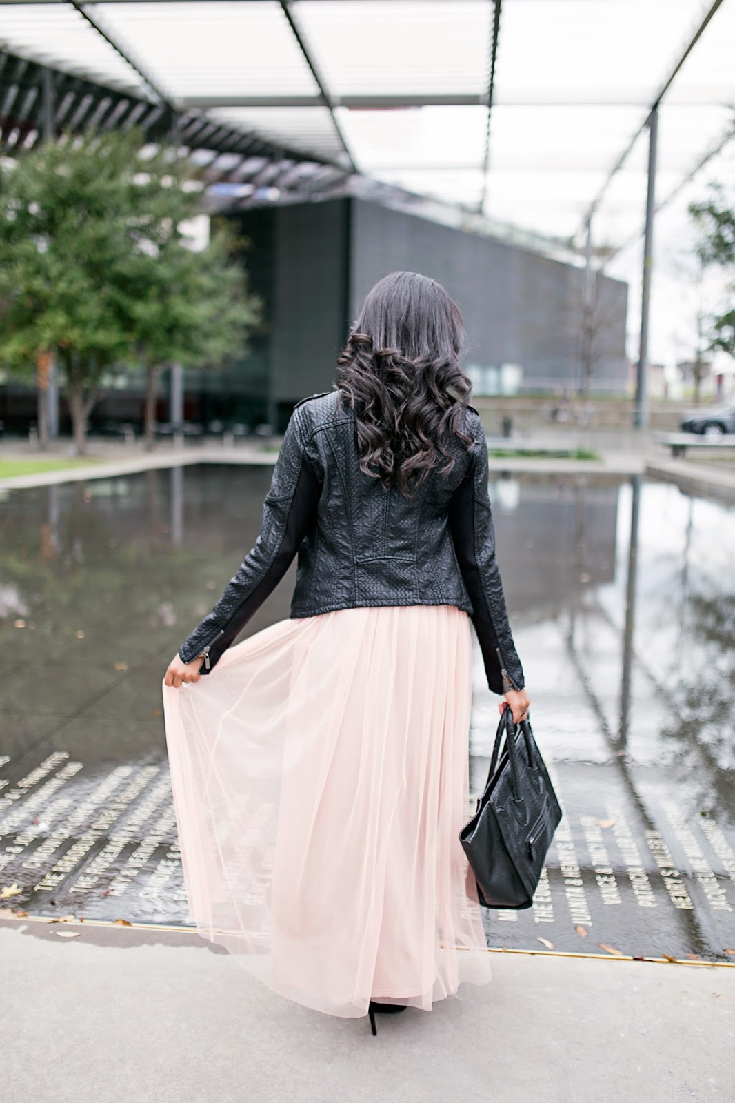 how to wear leather jacket- how to wear tulle skirt- how to make tulle skirt wearable- tulle skirt outfit- tulle maxi skirt- blanc noir leather jacket- budget friendly fashion- look for less celine bag- dallas fashion blogger- black girl blogger- black fashion blogger- dallas blogger- date night outfit- what to wear night out