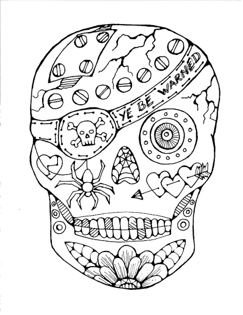 Pirate Sugar Skull  Free Coloring Page Is Featured In Great Halloween  Crafts And Fun Coloring Projects  Feature Friday