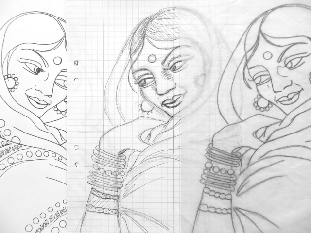 india portrait sketch coloring book