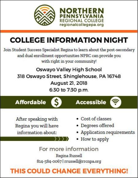 8-21 Northern PA College Information, Shinglehouse
