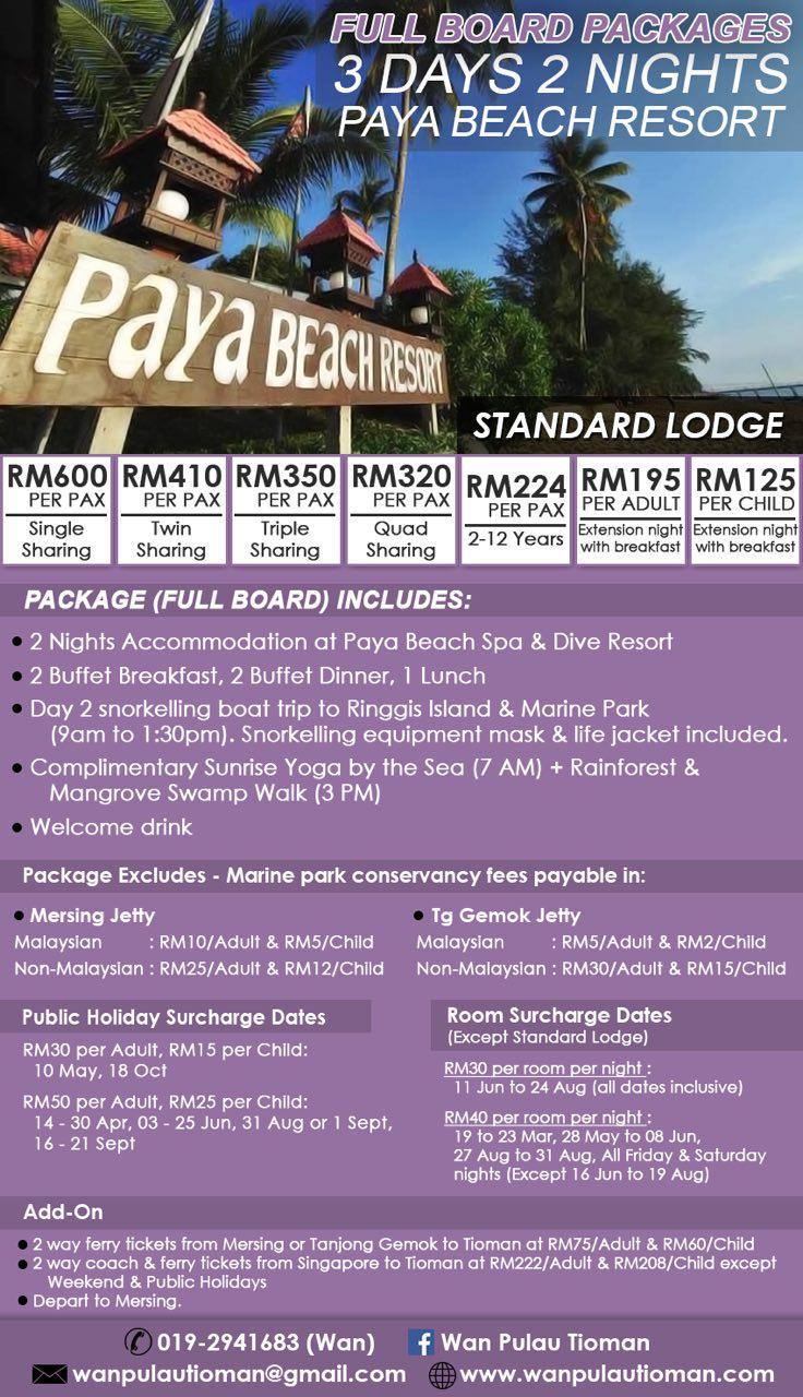 Full Board Packages 3 Days 2 Nights Paya Beach Resort Tioman Island