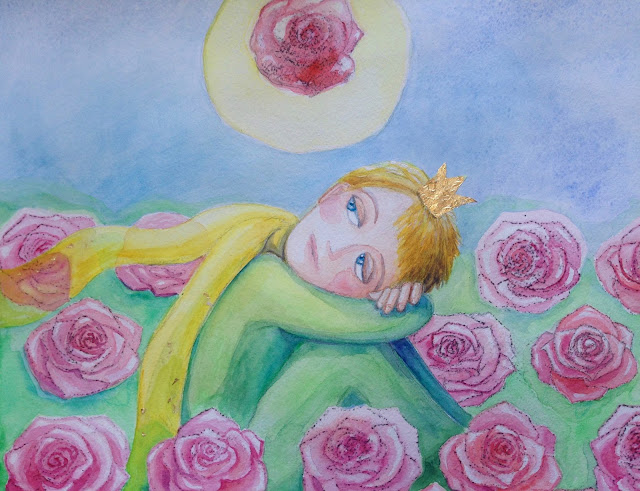 Le petit prince illustration roses art picture watercolor akvarell