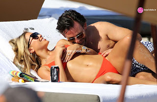 Sylvie Meis Super  fit  body in tiny red bikini WOW Beach Side  Pics Celebs.in Exclusive 013