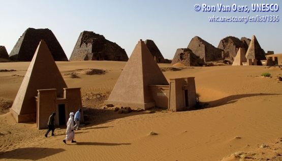 Smooth- and rough-sided pyramids at the Meroë archaeological site, northeastern Sudan