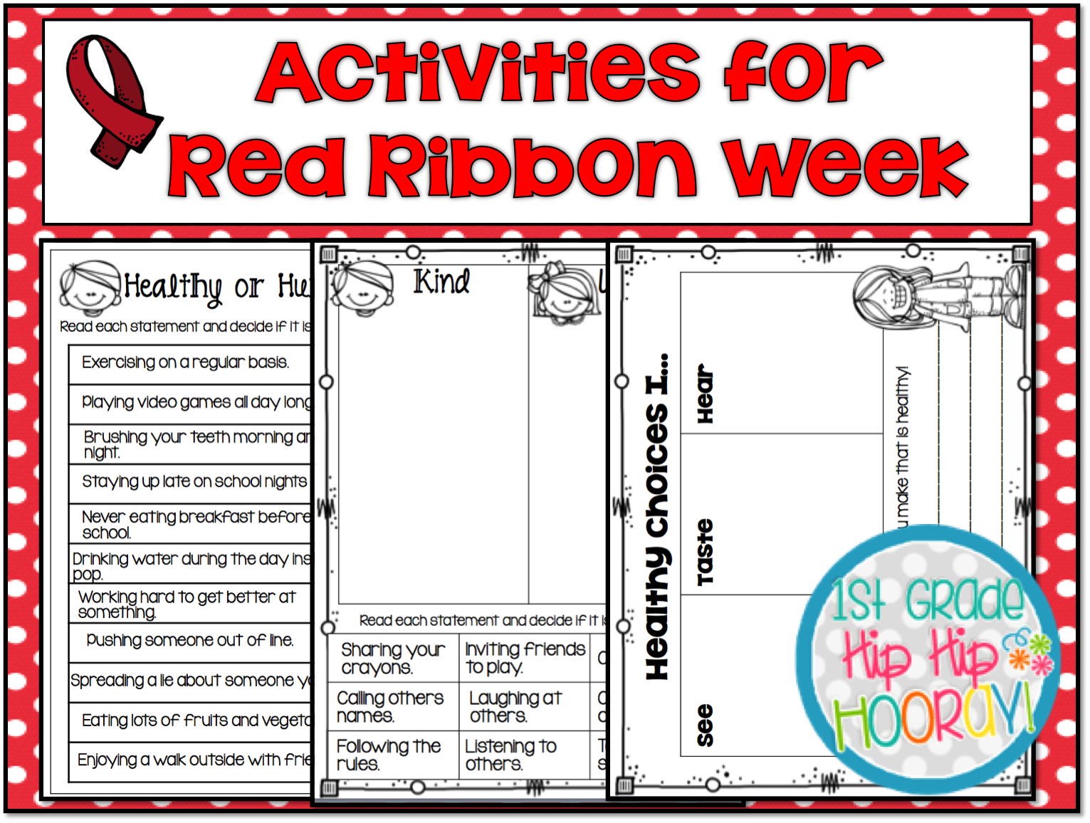 image about Red Ribbon Week Printable Activities referred to as 1st Quality Hip Hip Hooray!: Merely SAY NO! Pink Ribbon 7 days