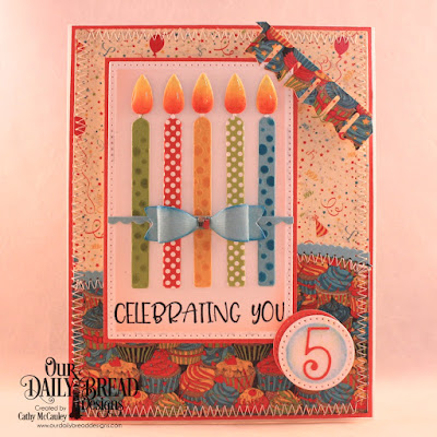 Our Daily Bread Designs Stamp Set: Celebrating You, Paper Collections:  Birthday Bash, Birthday Brights, Custom Dies: Pierced Rectangles, Pierced Circles, Leafy Edged Borders, Birthday Candles, Numbers, Bitty Borders, Mini Bow