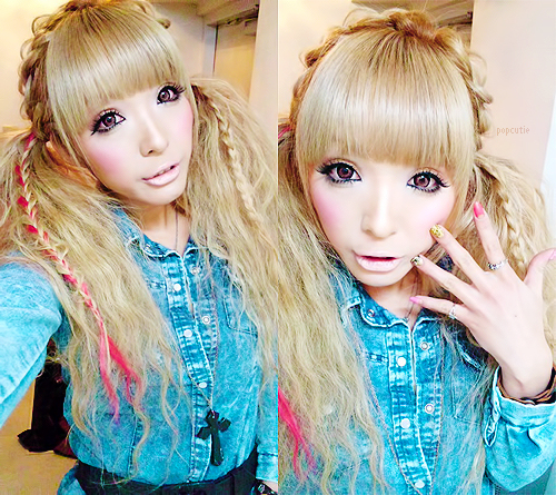 easy gyaru hairstyle, pigtails, plaits