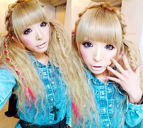 easy gyaru hairstyle, pigtails, plaits