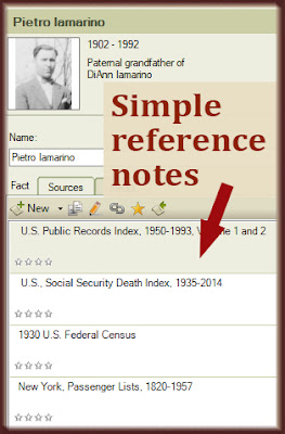 Simple reference notes keep the family tree software uncluttered.