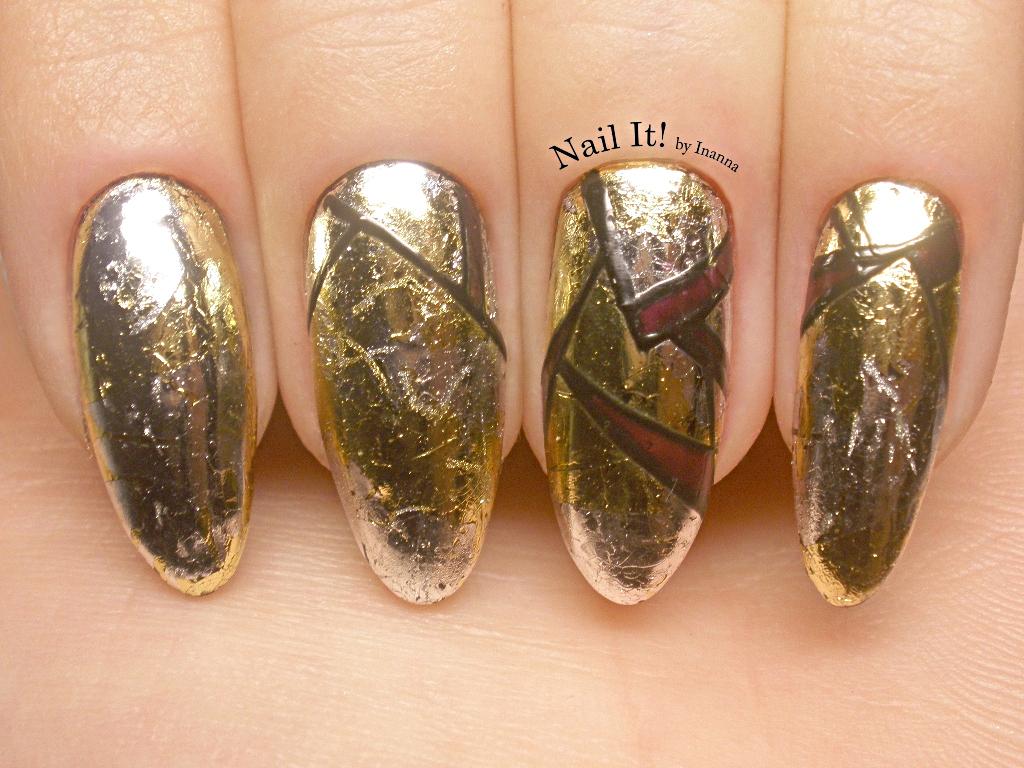 Metallic Geometry ::: Gold & Silver Transfer Foil nail art