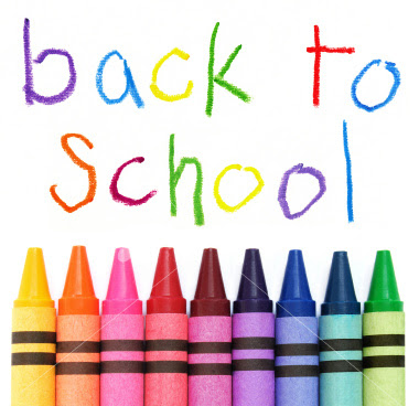 Back to school with crayons graphic