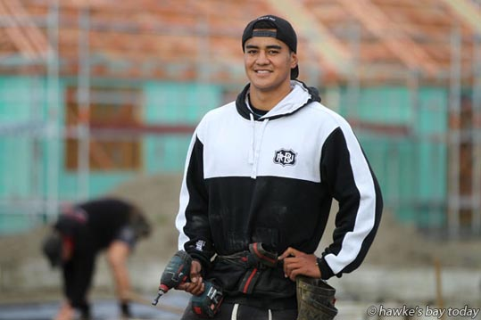 Kaleb Whakataka, MVP, Taradale Rugby Club, working as a labourer for Build 100 on a building site in Mahora, Hastings. photograph