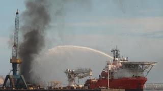 YA fue Controlado el incendio en Astilleros del puerto Veracruz