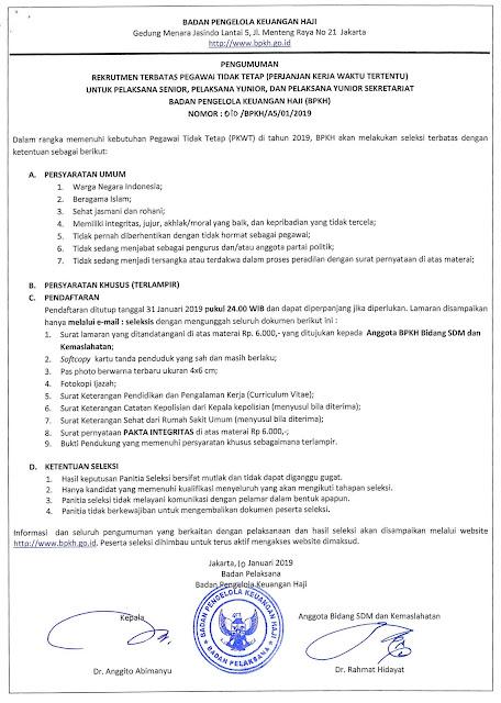 Rekrutmen Badan Pengelola Keuangan Haji Tahun 2019
