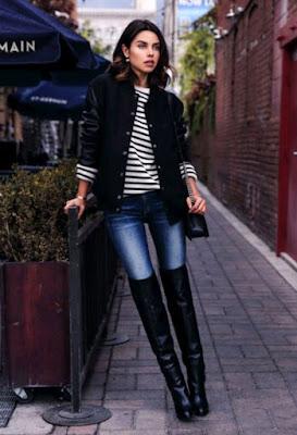 botas negras con jeans