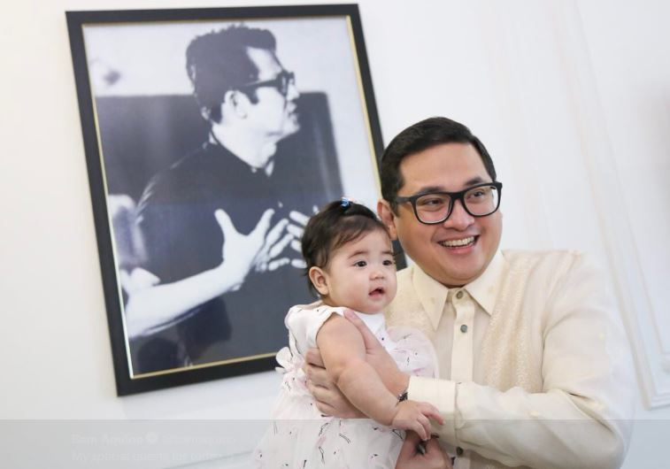Senator Bam Aquino with his special guest during the Opening of the Senate session today