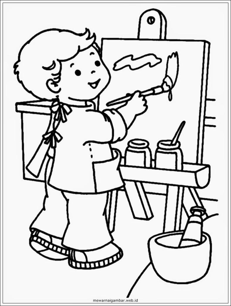 Gambar Kartun Anak Sedang Mewarnai Aliansi Kartun