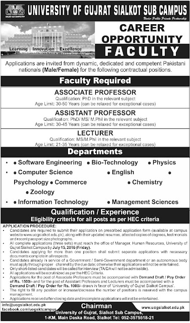 Faculty Jobs in University of Gujrat for Lecturers
