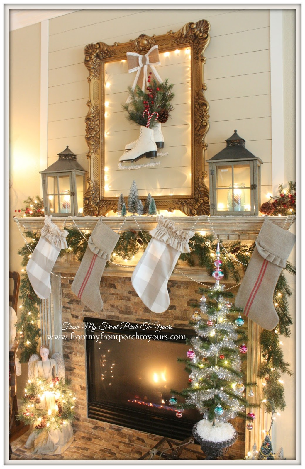 French Farmhouse Vintage Christmas Mantel 2014-Ice Skates-Vinatge- From My Front Porch To Yours