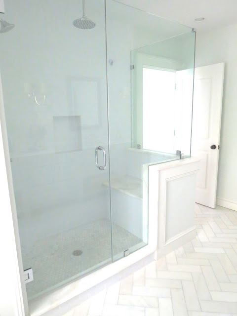 before and after pictures shower bench seat marble white subway half wall glass shower