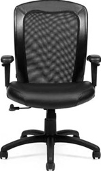 Mesh Office Chair with Leather Seat and Back Trim