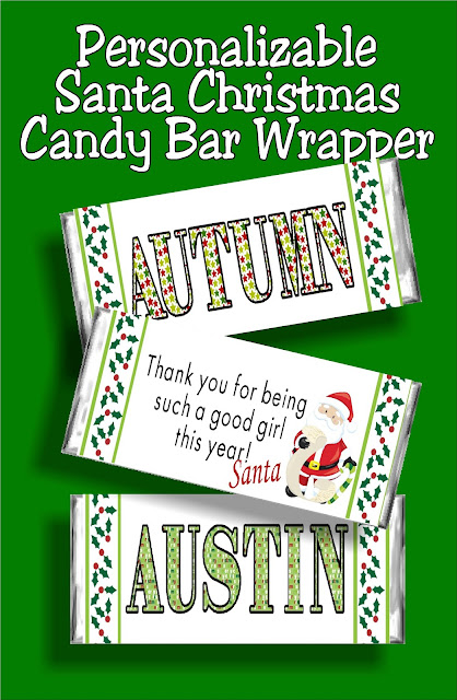 Let Santa say Thank You for being a good girl or good boy this year to your children with this personalizable Christmas candy bar wrapper. This wrapper is a great Christmas card for Santa to leave in your kids' stockings. #santa #christmasprintable #candybarwrapper #diypartymomblog