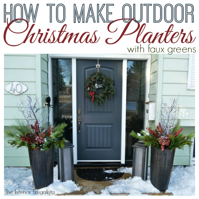 How to make Festive Outdoor Lighted Christmas Planters With Faux Greens by Interior Frugalista to flank the front door during the holidays. No watering required! Includes a step-by-step tutorial for this DIY holiday decor idea.