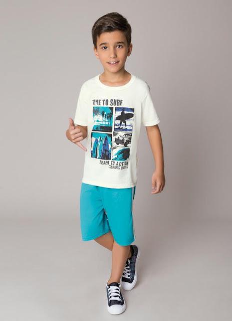 conjunto de menino azul e branco