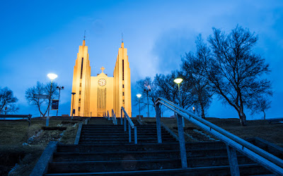 Cathedral of Akureyri town (Akureyrarkirkja) in bluish dusk light