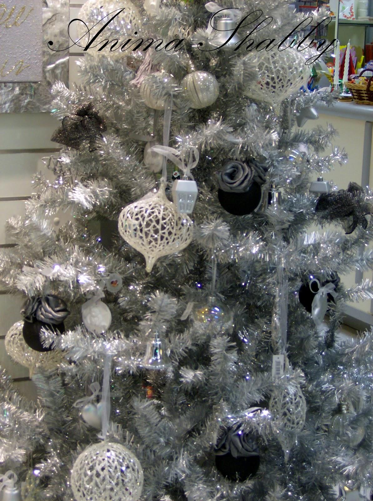 Anima shabby albero di natale in argento bianco e nero for Obi albero di natale