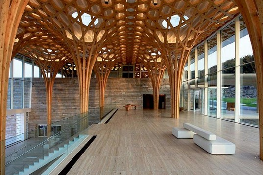Library college lounge with bamboo pole architecture design Architecture and design