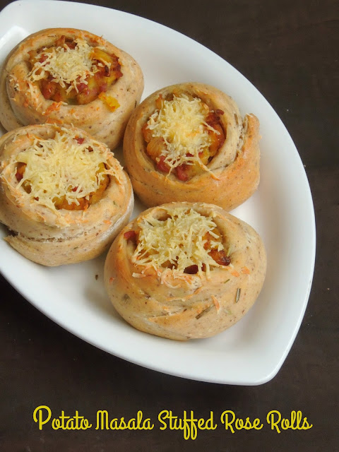 Spicy cheesy rose rolls, Potato masala rose rolls