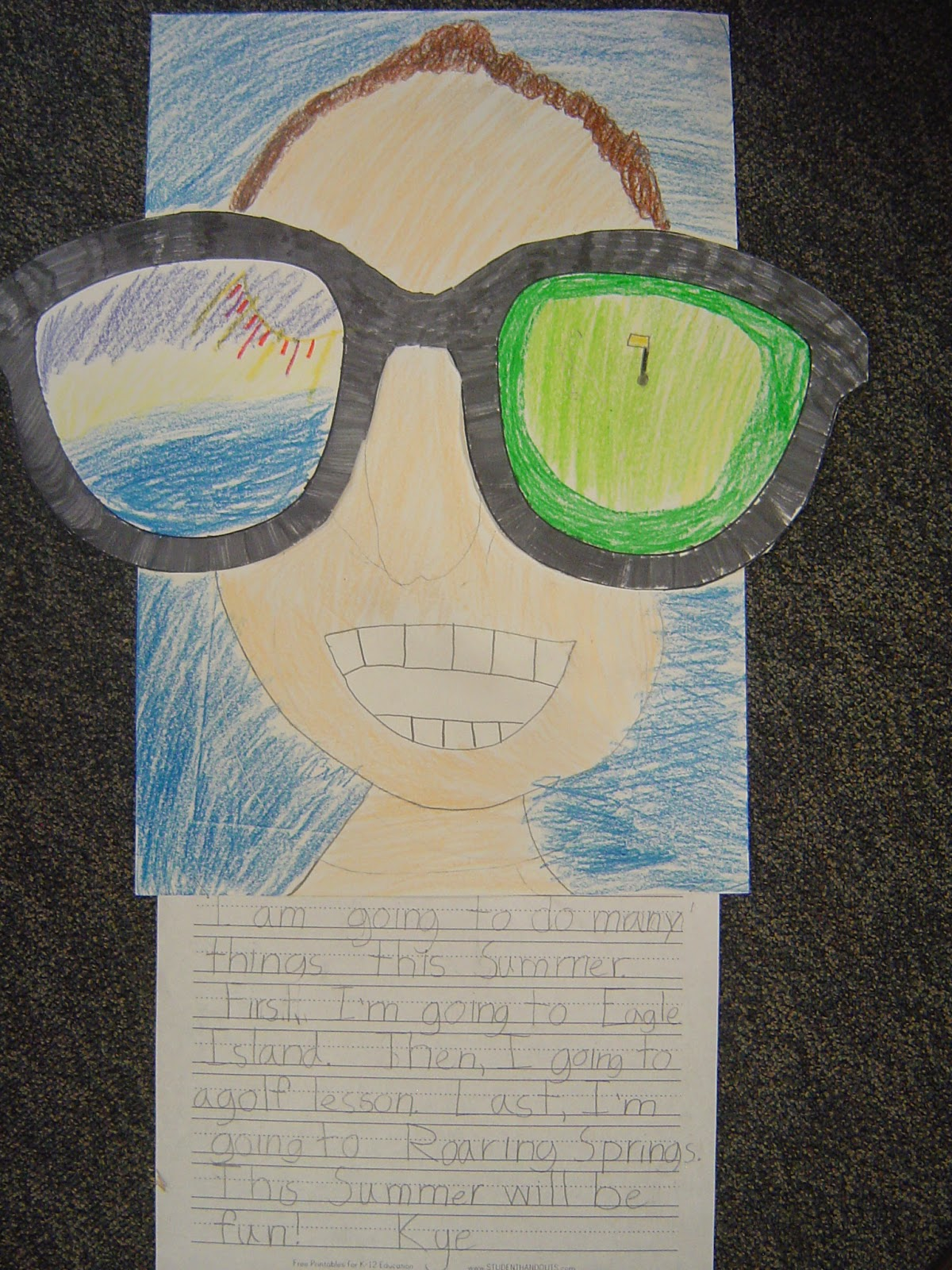 ec2a2be5eeea She has a free glasses printable on her blog. I just had them draw in the  sunglasses and do the writing separately in more of a first grade format.