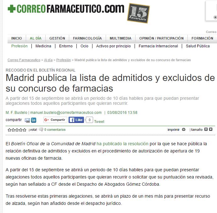 G mez c rdoba abogados concurso de 19 nuevas oficinas de for Oficina de turismo de la comunidad de madrid