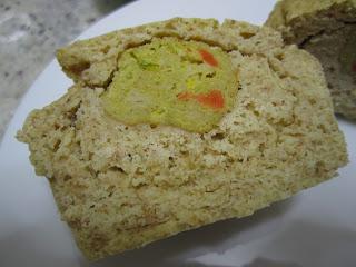 Intérieur du muffins au maïs coeur de boulettes de légumes Herta Le Bon Végétal