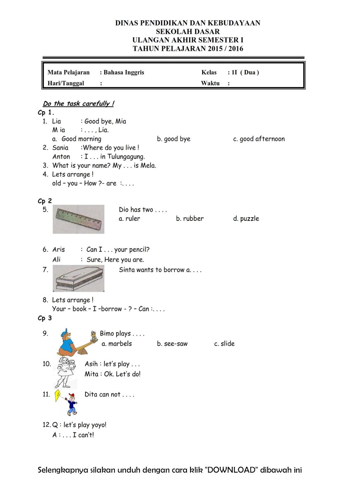 Soal Bahasa Inggris Semester Genap Kelas 2 Soal Uts Bahasa Inggris Kelas 4 Sdmi Semester 2 Download Soal Uas Bahasa Inggris Kelas 2 Semester 1 20152016 Rief