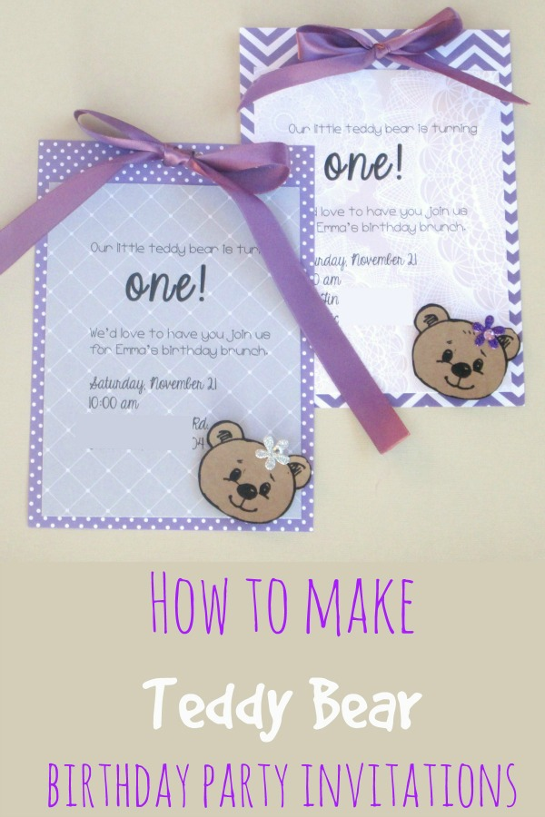 Purple teddy bear invitations for a girl's first birthday party