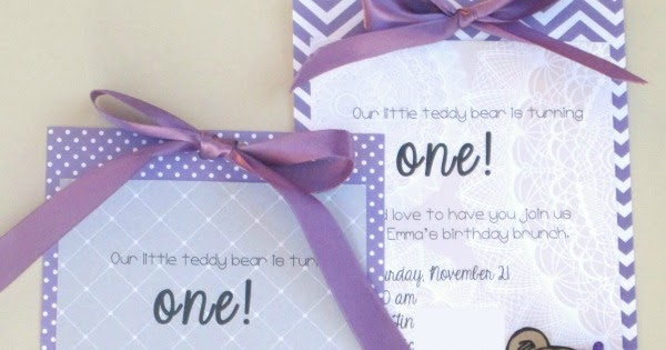 Lauras Plans DIY first birthday party invitations teddy bear theme