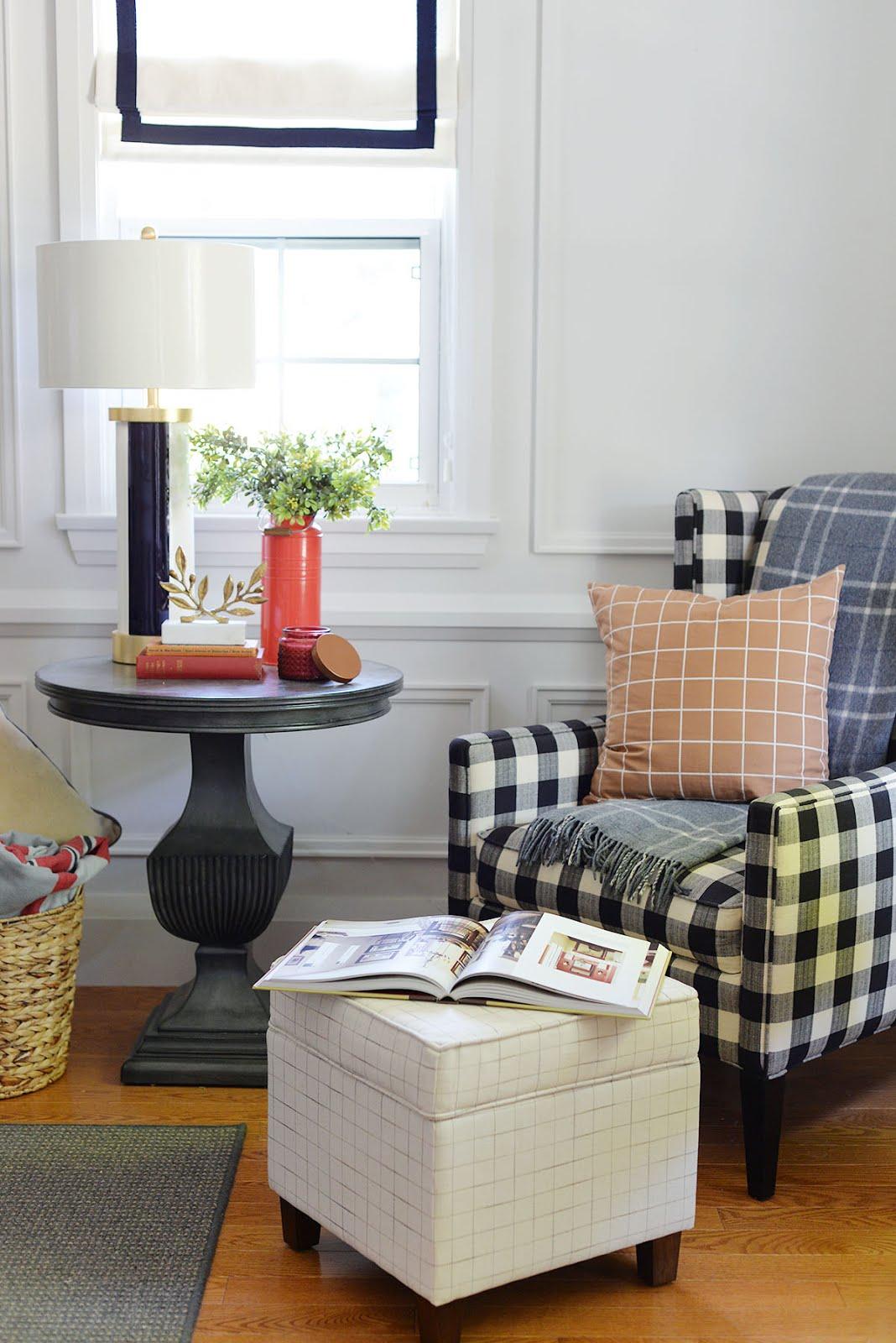 rust windowpane plaid pillow, black and white buffalo plaid chair, plaid pillows Christmas