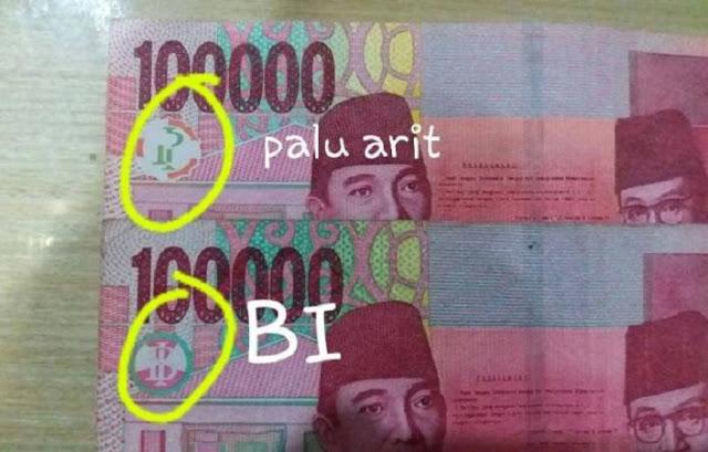 uang rupiah gambar mirip palu arit dan BI