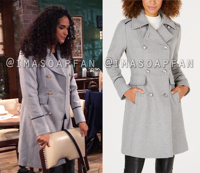 Jordan Ashford, Briana Nicole Henry, Grey Double-Breasted Coat, General Hospital, GH