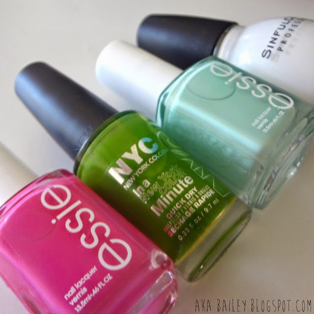 Essie Mod Square, NYC High Line Green, Essie Mint Candy Apple, Sinful Colors Snow Me White